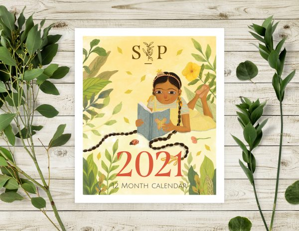 Image shows cover of new 2021 desktop calendar featuring an illustration from our upcoming title - Kamal's Kes.