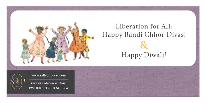 Text: Liberation for All - Happy Bandi Chhor Divas! & Happy Diwali! Image shows a group of young children exhaling with arms raised in celebration.