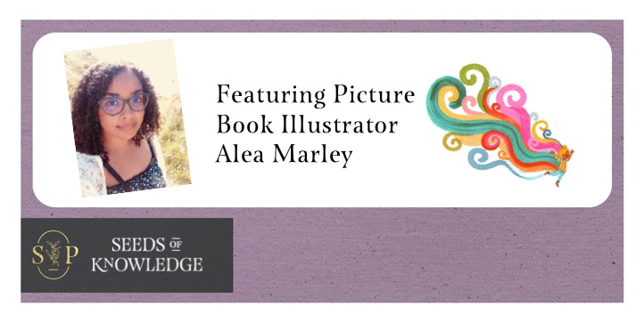 Image reads: Featuring Picture Book Illustrator Alea Marley. Image of illustrator and an illustration of Harpreet with a rainbow of colours following him in swirls.