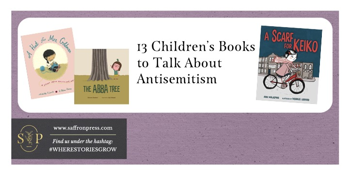 Image shows a purple frame which includes 3 book cover images and the title reads 13 Children's Books to Talk About Antisemitism.