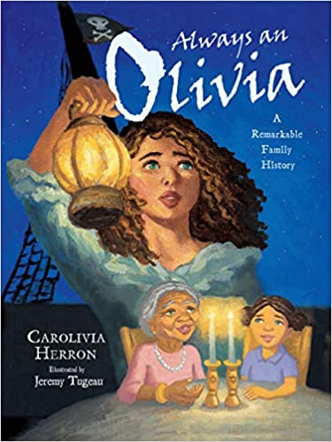 Book cover for Always an Olivia. A young woman with curly brown hair and blue eyes holds a lamp. Below, an older woman wearing a pink dress and a pearl necklace is sat beside a younger girl who has her dark hair tied in two buns.