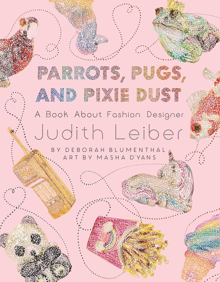 Book cover image for Parrots, Pugs, and Pixie Dust has a pink background and uses an art medium of colourful dots to show animals like a frog, unicorn, fish and then fries!
