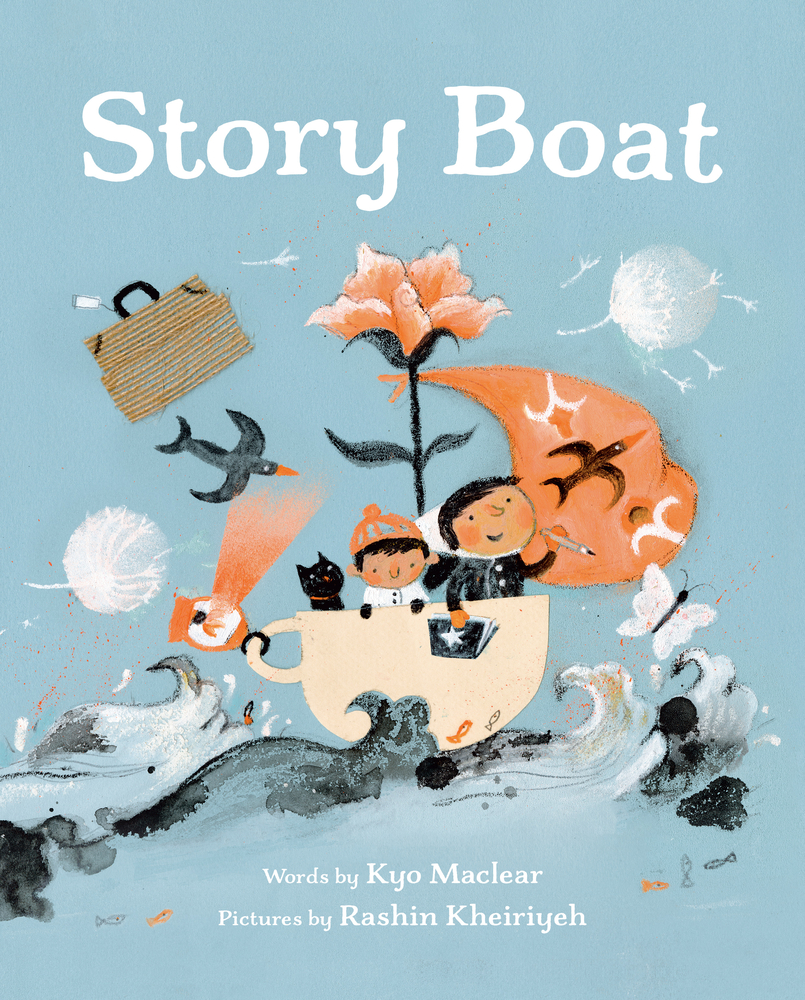 Book Cover for Story Boat by Kyo Maclear. Robin blue background and title in white text at the top. Image shows two people in a creamy coloured teacup boat. A salmon coloured sail on the boat and a flower rises from behind the characters. Dark and white waves under the 'boat'. Birds, a butterfly and suitcase fly around the image.
