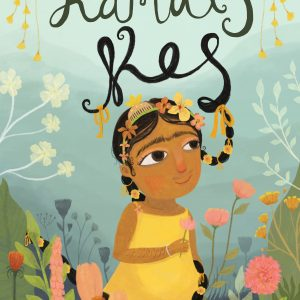 Book cover: A background of soft blues and greens. The title of the book drops like a vine and attaches to Kamal's braid. (Kamal is a young Sikh girl wearing a yellow sleeveless dress with flowers in her braids). Leafy plants and flowers fill the bottom of the cover. Written and illustrated by Baljinder Kaur.
