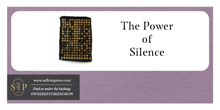 Purple border with white space in centre. On left is a piece of art showing 204 pairs of golden footprints on 23 ct. gold on indigo dyed hemp paper. Text reads: The Power of Silence